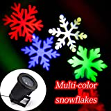 SWEON Moving Snowflakes Lamp Laser Light Spotlight Indoor/outdoor LED Landscape Projector Light, Garden and Wall Decoration Light, Party Light, Christmas Holiday Lighting(Multi-color Snow)