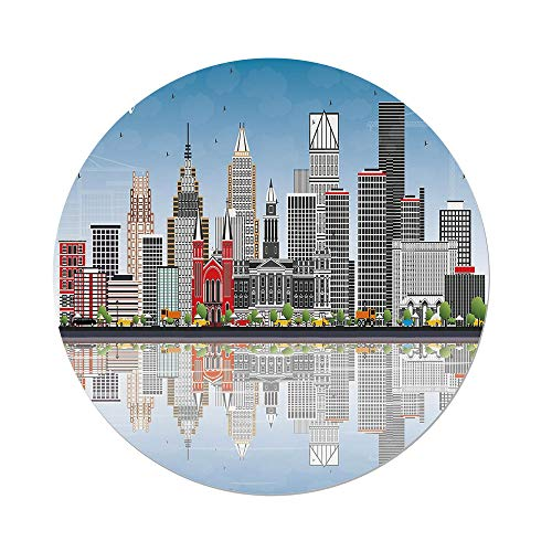iPrint Polyester Round Tablecloth,Detroit Decor,Detroit Skyline Skyscrapers Modern Buildings Clear Sky Water Reflection Decorative,Multicolor,Dining Room Kitchen Picnic Table Cloth Cover Outdoor in