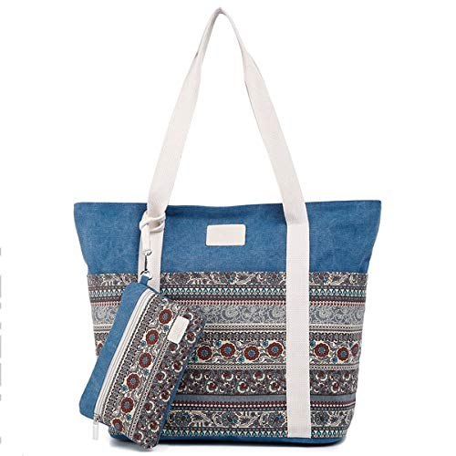 donna Shopping Tote blu Grande Borsa da blu a capacità all'aperto portatile mano wqTxFUtO