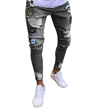 b5cd59df5 WanYangg Homme Skinny Jeans Vintage Patch Badge Effet Déchiré ...