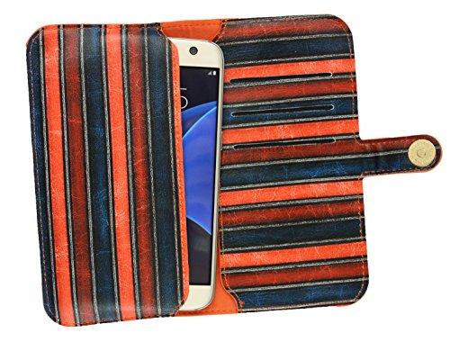 Emartbuy® Azul Vendimia Rayas Cuero PU Funda Carcasa Case Tipo Bolsa ( Talla 3XL ) Con Cierre Magnético apto para Onix S501 4G Smartphone Naranja Vintage Stripes Wallet