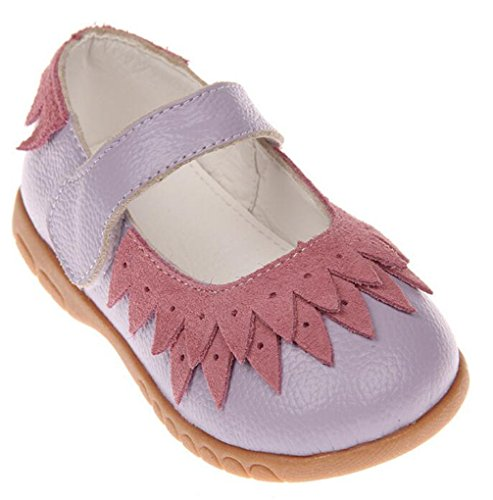 Bumud Little Girl's Genuine Leather Round Toe Princess Dress Mary Jane Flat Shoes (8 M US Toddler, Purple) by Bumud (Image #4)