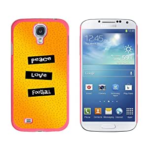 Graphics and More Peace Love Football Snap-On Hard Protective Case for Samsung Galaxy S4 - Non-Retail Packaging - Pink