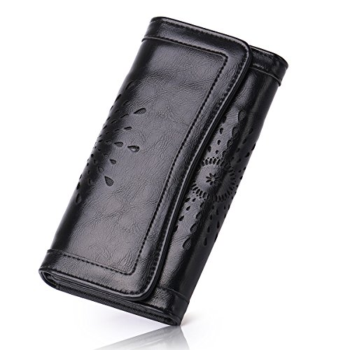 APHISON Ladies Soft PU Leather Long Wallet Trifold Clutch Purse Credit Card Holder Case for Women With Gift Box 2214 ()