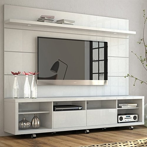 (Manhattan Comfort Cabrini TV Stand and Floating Wall TV Panel with LED Lights 2.2 in White Gloss )