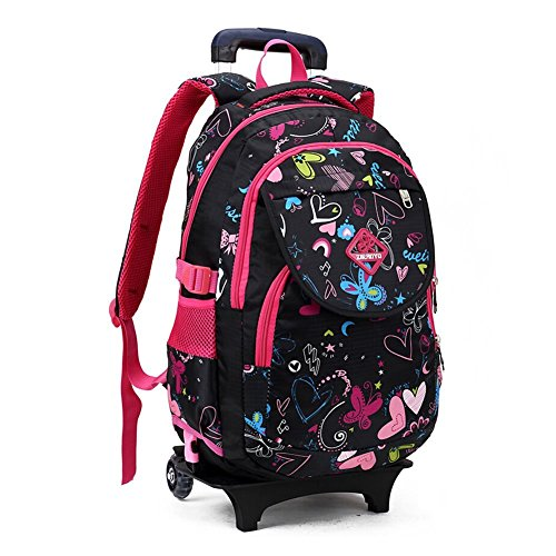 Flyshine Cute Kids Girl's Student Nylon Trolley Bag School Backpack Rolling Backpack With Wheeled Trolley Hand