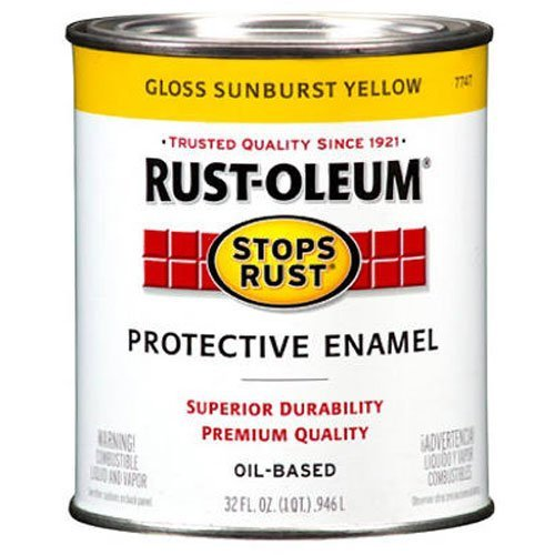 Rust-Oleum 7747502 Protective Enamel Paint Stops Rust, 32-Ounce, Sunburst Yellow (Enamel Finish Yellow)