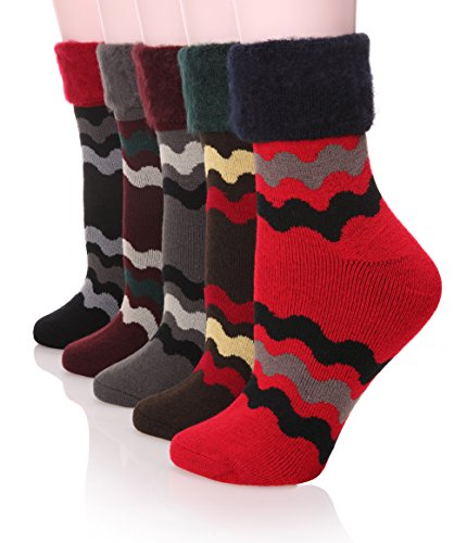 Cheap  DoSmart 5 Pairs Women's Warm Flanging Wool Thicken Winter Socks In Cold..