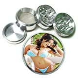 Argentina Pin Up Girls South America S13 Chrome Silver 2.5'' Aluminum Magnetic Metal Herb Grinder 4 Piece Hand Muller Herb & Spice Heavy Duty 63mm