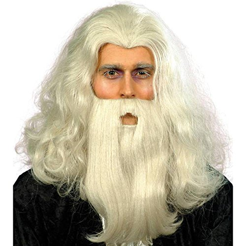 Merlin Wig And Beard Set (Men's Merlin Magic Costume Wig And Beard Set)