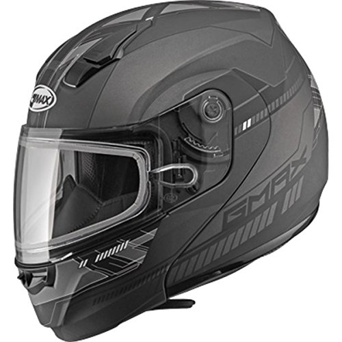 (GMAX MD-04 Adult Docket Snowmobile Helmet - Matte Dark Silver/Black /)