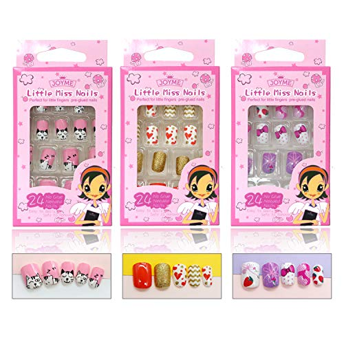 Kids False Nails 3 Pack Press On Nails For Girls