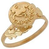 14k Yellow Gold Beautiful Diamond Cut Capricorn Zodiac Sign Astrology Ring