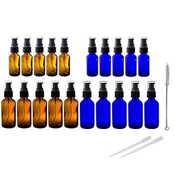 Ámbar y azul cobalto 20 PC Kit de botellas de vidrio Bomba de tratamiento conjunto,