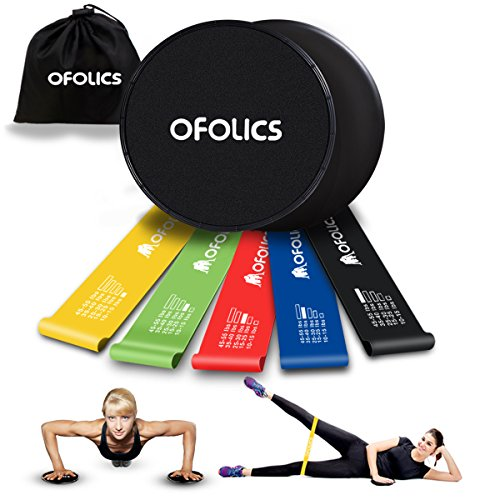 OFOLICS Exercise Resistance Loop Bands(Set of 5) & Core Sliders(Set of 2) Workout Fitness Bands Dual Side Gliding Discs Exercise Equipment Work on All Surface Full Body Workout With Carry Bag