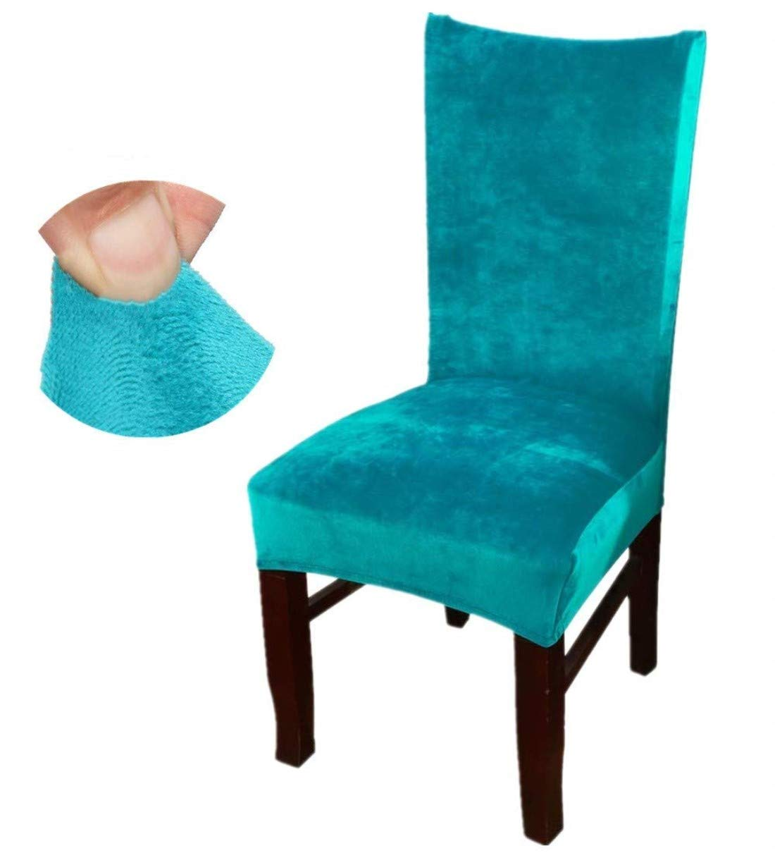 FamyFirst Dining Room Chair Covers Set of 4, Velvet Spandex Fabric Stretch Elastic Removable Washable Chair Seat Protector Slipcovers for Home Party Hotel Wedding Ceremony, Peacock Blue