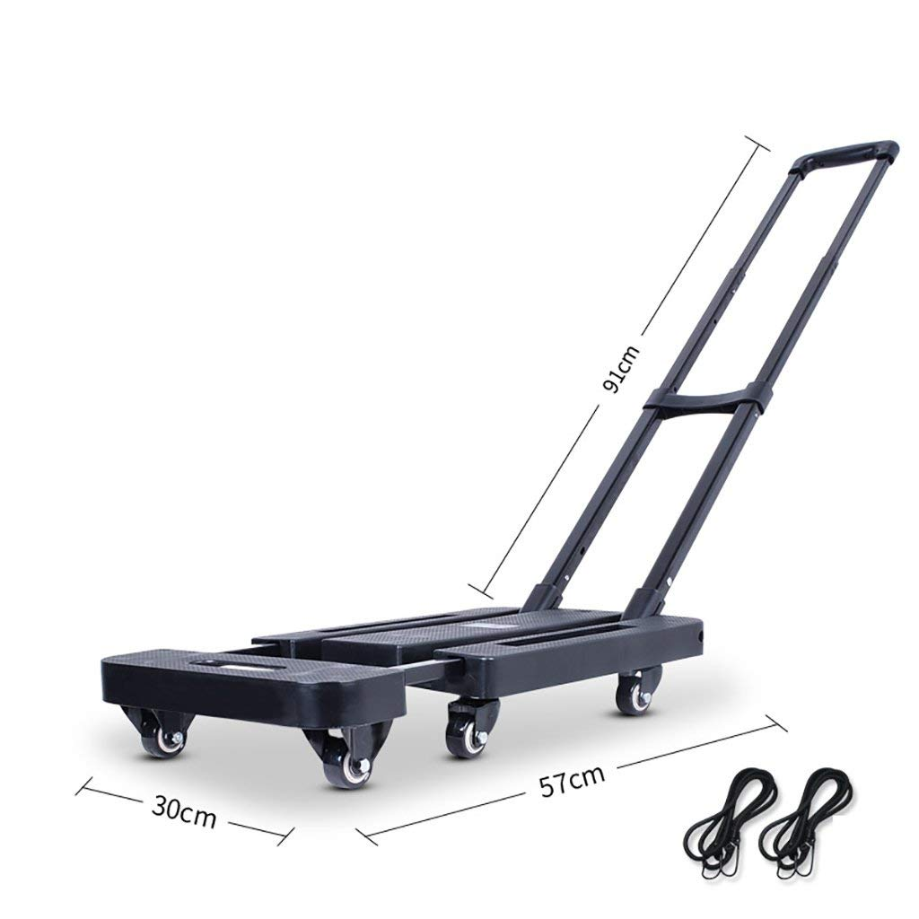 Zehaer Portable Trolley, Trolley Pull Truck Universal Wheel Fold Portable Household Black Flatbed Truck Mini Six Wheel Load Save Effort Scalable Chassis 200 Kg Capacity
