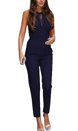 gute Textur Bestbewertet authentisch bester Ort für Damen Elegant Jumpsuit mit Spitze Lang Hosen Rundhals Ausschnitt Ärmellos  Frauen Overall Party Abendmode