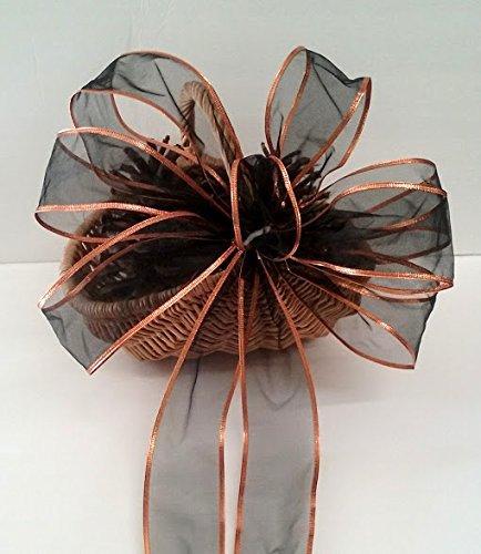 Black and Orange Halloween Wreath Bow ~ Harvest Centerpiece ~ Spooktacular Halloween Party Decorations ~Halloween Wedding Pew Bow ~ Gothic Party Decor ~ Harvest (Handmade Halloween Decorations)