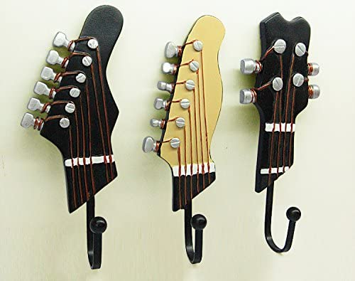 Vejaoo Pack of 3 Hooks Towel Coat Wall Rack Hangers Guitar Shape Vintage Resin Hooks 3-Hook