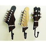 KUNGYO Pack of 3PCS Towel Coat Wall Rack Hangers Guitar Shape Vintage Resin Decorative Hooks (3-PACK)