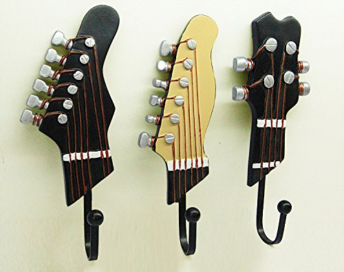 KUNGYO Vintage Guitar Shaped Decorative Hooks Rack Hangers for Hanging Clothes Coats Towels Keys Hats Metal Resin Hooks Wall Mounted Heavy Duty (3-Pack) (Resin Metal)