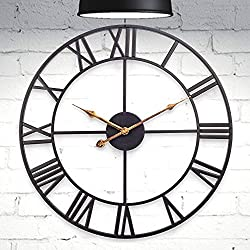 HOMEGURUS Wall-Clock 18inch Roman Numeral Large-Decorative Modern Clock for Home-Office Kitchen Living Room and Bedroom