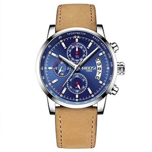NIBOSI Mens Watches Leather Analog Quartz Watch Men Date Business Dress Wristwatch Mens Waterproof Sport Clock (Silver Blue)