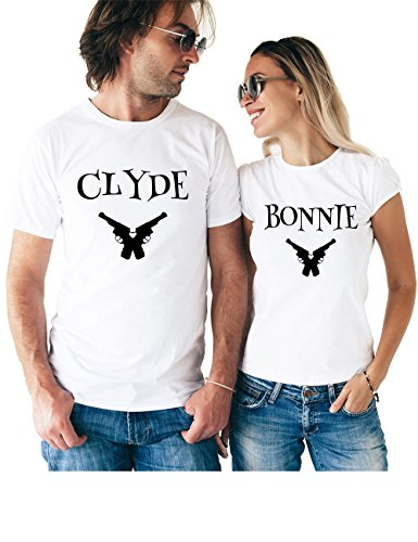 Clyde & Bonnie Matching Couple T Shirts - His and Hers Custom Shirts - Couples Outfits for Him and Her]()