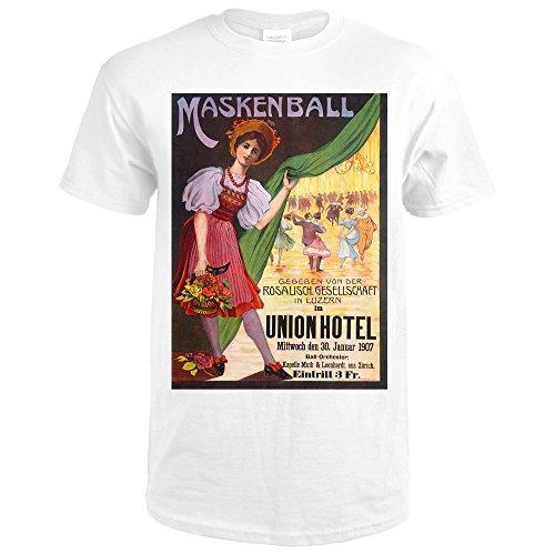 ball - Union Hotel Vintage Poster (artist: G.T.) Switzerland c. 1907 (Premium White T-Shirt XX-Large) (1907 Union)