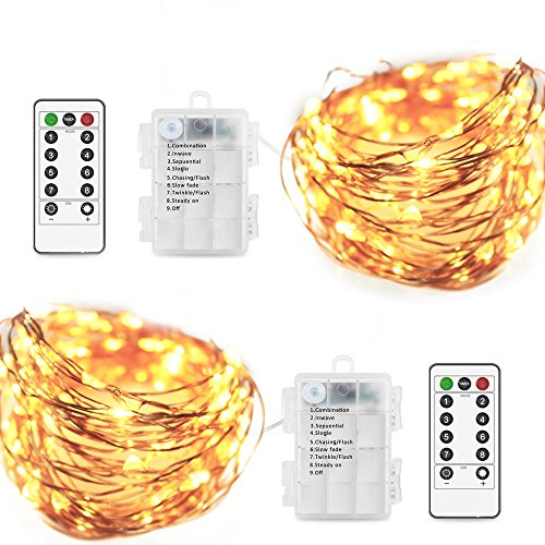 HIKETOLIGHT Fairy String Lights 8 Modes String Lights Battery(excluded) Operated Twinkling 100 LEDs 33FT Copper Wire Firefly Lights Remote Control for Bedroom Wedding Festival Decor(Warm White,2