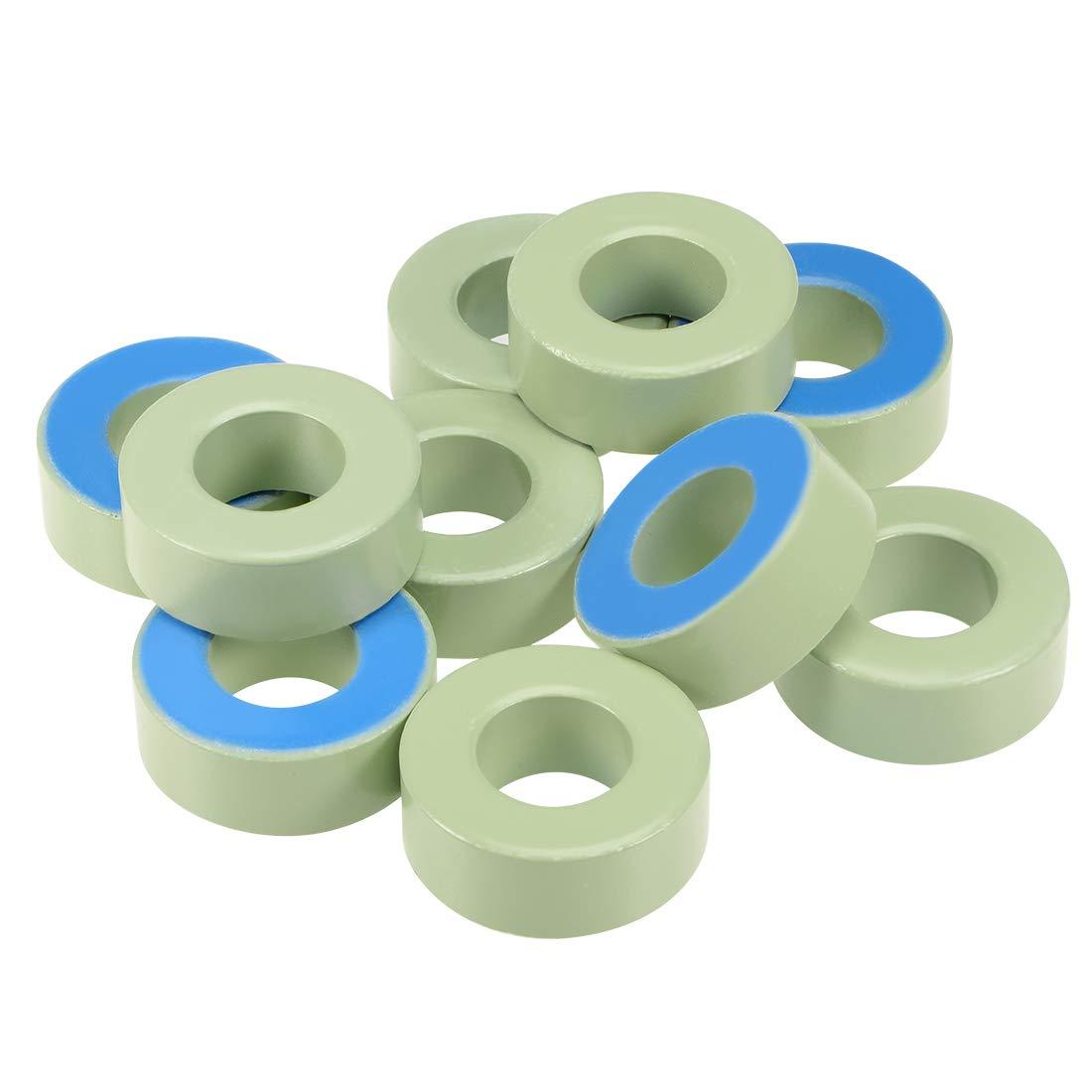 uxcell 10pcs 23.8X 47 x 18.2mm Ferrite Ring Iron Powder Toroid Cores Light Green Blue