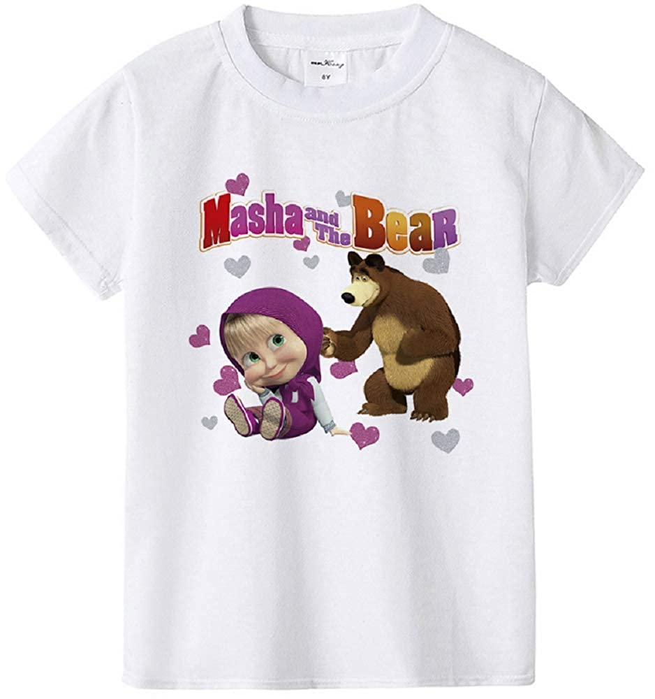 Independence Life Girls Masha and The Bear Short Sleeve White T-Shirt for 1-12Years Little and Big Girls
