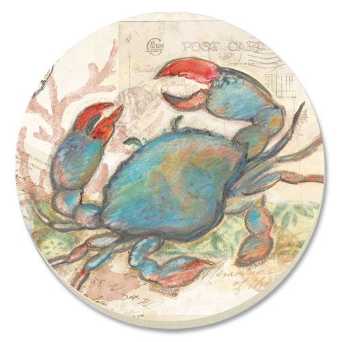 CounterArt Seaside Garden/Blue Crab Absorbent Coasters, Set of 4 ()