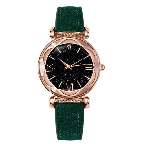 ZXMBIAO Reloj De Pulsera Relojes De Lujo para Mujer Relojes Románticos Starry Sky Relojes De Diamantes De Imitación De Oro Rosa para Mujer, ...