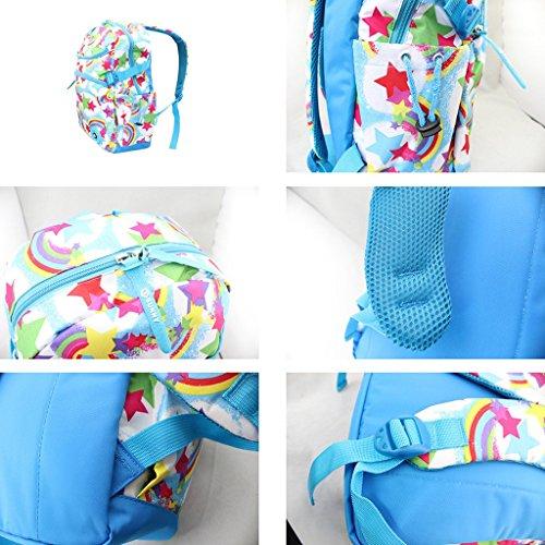 Schulrucksack Schulranzen Sportrucksack Backpack für Mädchen Jungen Kinder Jugendliche Sky Blue