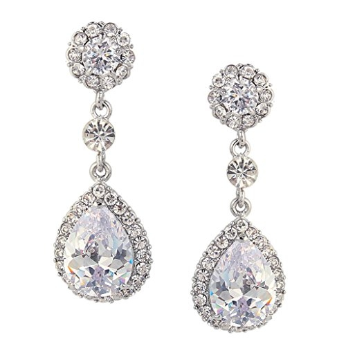 EVER-FAITH-Flower-Teardrop-Dangle-Earrings-Austrian-Crystal-CZ