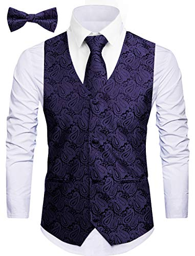 WANNEW Mens Vest Suit Vests Tuxedo Vest Vest for Men(XX-Large, Navy)