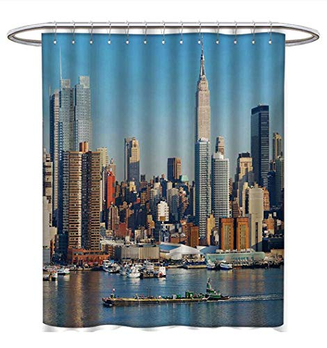 Anhuthree New York Shower Curtains Fabric Urban City Skyline Manhattan with Empire State Building Over Hudson River Panorama Bathroom Decor Sets with Hooks W69 x L75 Blue -