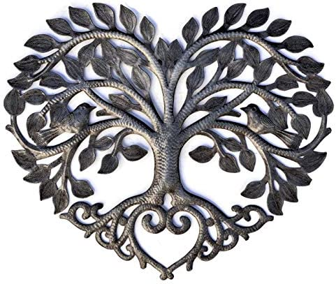 Heart Shaped Tree of Life Metal Wall Hanging Artwork