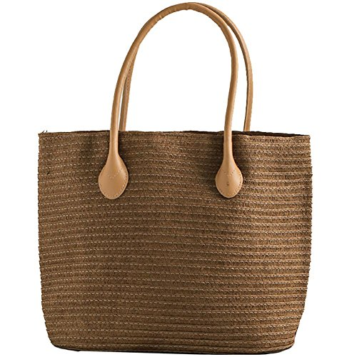 European 100lb Brown Bag Bag Totes Shoulder Pack Women 100lb Bag random handbag Woven khaki Handbags Shoulder Style Straw Women's handmade Straw Bag Rattan Beach Modern Simple Dark tP7wFzxq