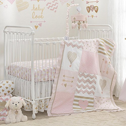 Lambs & Ivy Baby Love Pink/Gold Heart 4 Piece Crib Bedding Set by Lambs & Ivy