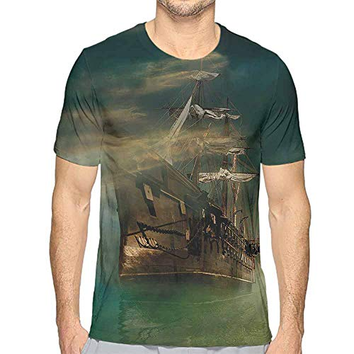 t Shirt for Men Fantasy,Old Ship on Calm Waters Custom t Shirt L -