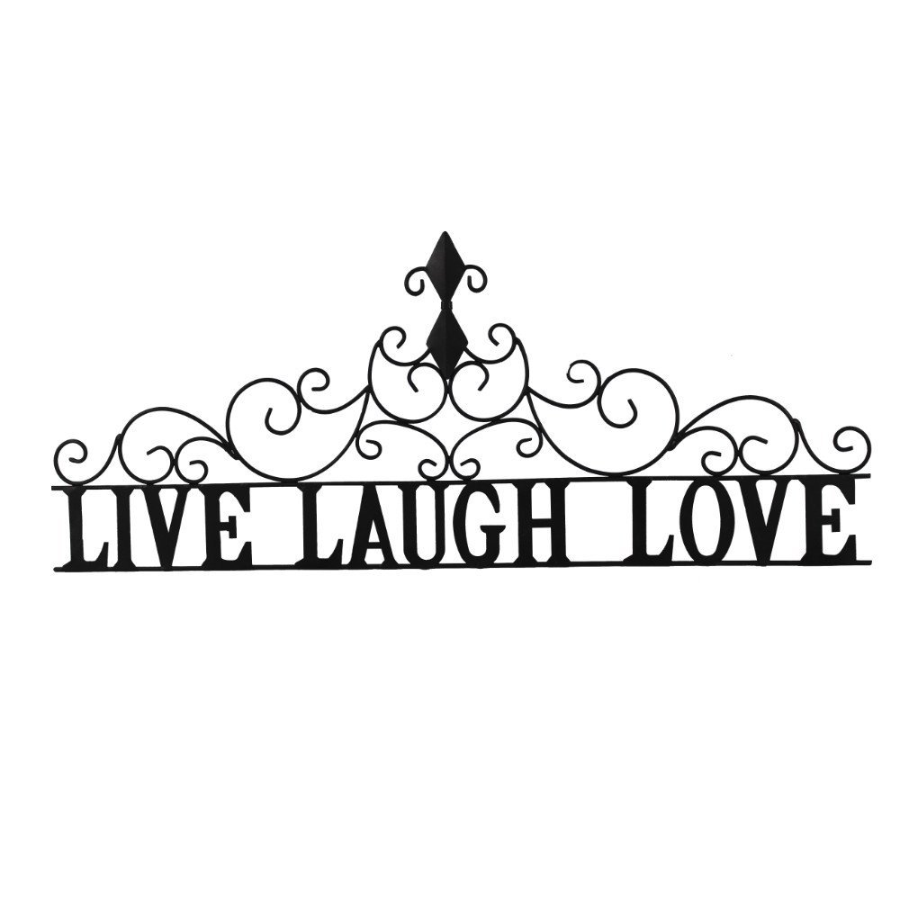 Collections Etc Scrolling Live Laugh Love Metal Wall Art - Home Decor Accents Above Door or Window for Any Room