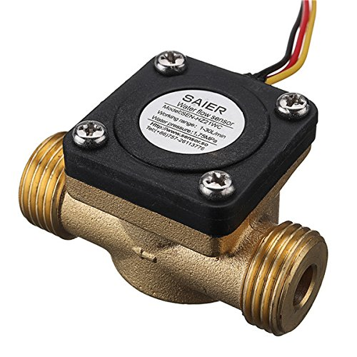 Hitommy G1/2 Inch Copper Water Flow Sensor Liquid Temperature Controlled Switch Flowmeter