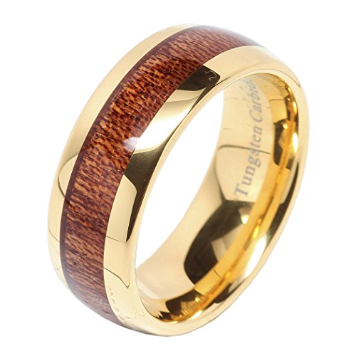 100S JEWELRY Mens Wedding Bands Tungsten Rings Koa Wood Inlay 14k Gold Plated Size 6-16 by 100S JEWELRY