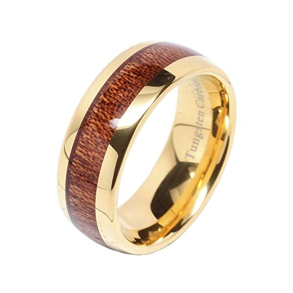 100s jewelry mens wedding bands tungsten rings koa wood inlay 14k gold plated size 6-16 - 51vnHQtr fL - 100S JEWELRY Mens Wedding Bands Tungsten Rings Koa Wood Inlay 14k Gold Plated Size 6-16