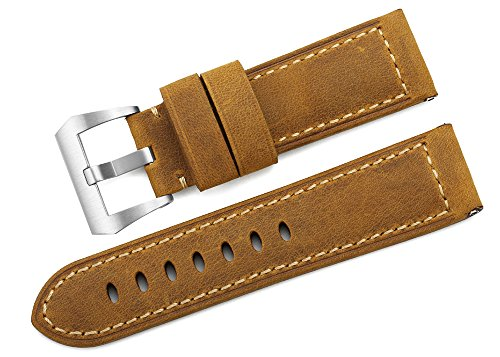 iStrap 24mm Watch Band Vintage Calf LeatherPadded Asso Strap Brushed Steel Buckle Brown