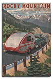 camper birch wall art - Rocky Mountain National Park - Retro Camper (10x15 Wood Wall Sign, Wall Decor Ready to Hang)