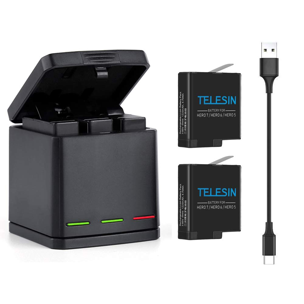 TELESIN 2-Pack Batteries and 3-Channel USB Battery Quick Charger with Type-C Cord for GoPro Hero 7 Black, Hero 6, Hero 5 Black, Fully Compatible with GoPro Original Batteries by TELESIN